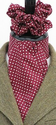 Ready Tied Burgundy and Cream Pin Dot Cotton Riding Stock & Scrunchie - Hunting