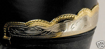 New! Western Cowboy Boot Heel Guards - Silver Brass Scalloped