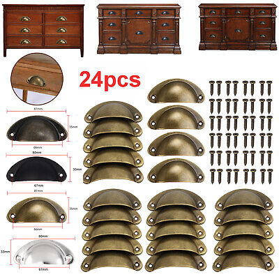 24 Cup Pull Cabinet Handle Door Draw Rustic Iron Antique Look Bronze/Brass/Black