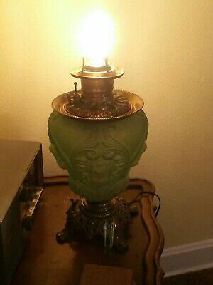 Antique Oil Baby Face Angel Victorian Rococo Banquet Apple Green Glass  Lamp