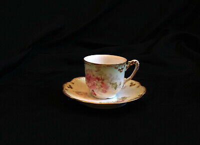 Antique Limoges Pink Rose & Gold Laced Demitasse Tea Cup and Saucer both signed