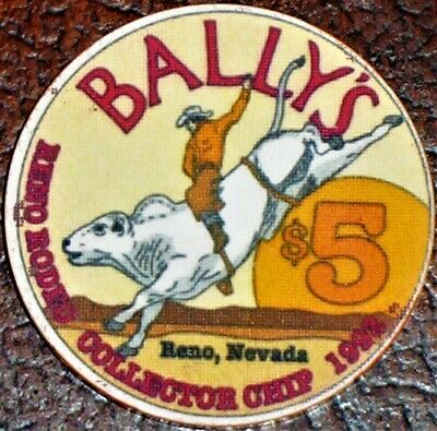 Old $5 BALLY'S Casino Poker Chip Vintage Antique Chipco Mold Reno Rodeo 1992