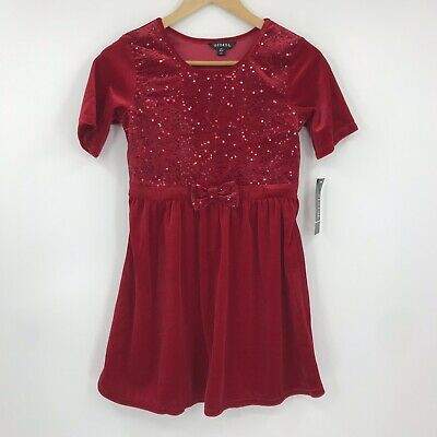 George Girls Short Sleeve Holiday Christmas Party Dress Velour Sequins Red Sz L