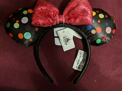 Disney Parks Minnie Mouse Polka Dot Sequin Black and Pink Bow Ears Headband NEW