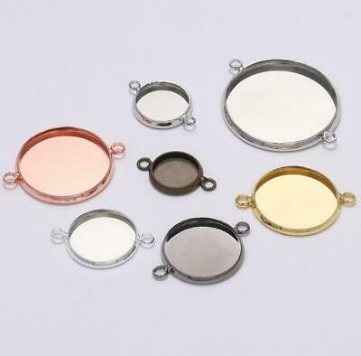 10X Connectors Round Double Loop Cabochon Base Cameo setting  DIY Jewelry Making