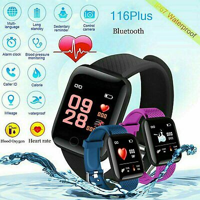 116Plus Smart Watch Bluetooth Blood Pressure Heart Rate Monitor Fitness  Tracker