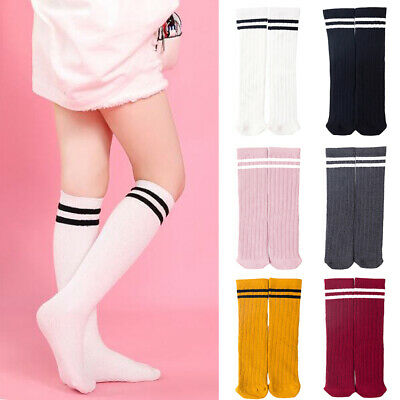 Toddler Kid Girls Knee High Long Socks Striped Cotton School Stocking 3-12 Years