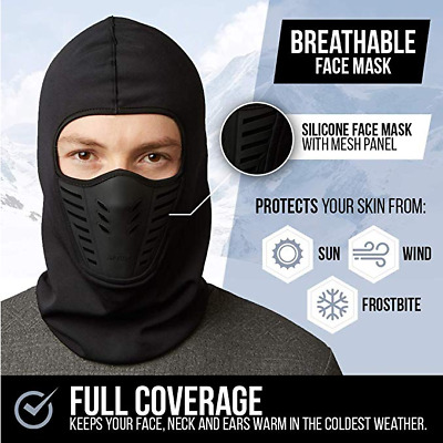 Balaclava Ski Full Face Mask Windproof Fleece Neck Winter Warm for Cold Weather