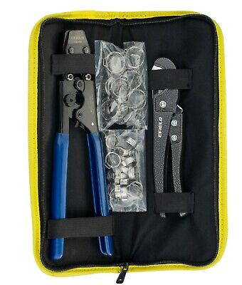 Pex Cinch Crimping Tool & Pipe Cutter +40  SS Clamps with Heavy-Duty Canvas Bag