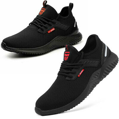 Black Safety Shoes for Men Women Steel Toe Trainers Lightweight Work Shoes Sport