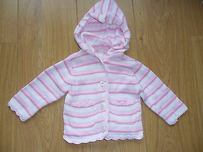 Pink & white striped girls cardigan from BHS Bambini. 3-6 months.