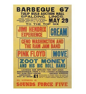 Barbeque 67 Poster - Jimi Hendrix, Pink Floyd, Cream, The Move - Concert Poster