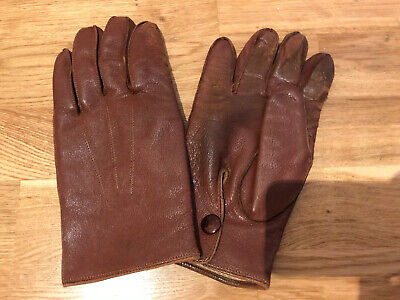 Pair Vintage Tan Leather Morley Men's Fleece Lined Driving Gloves Large