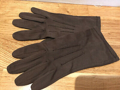 Vintage Pair 1950s Brown Ladies Stretch Evening Gloves VGC M/L Soft Fabric