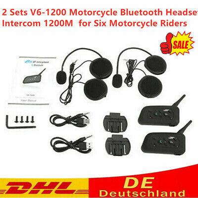 2 Set V6-1200 Motorrad Bluetooth Headset Intercom 1200M Sturzhelm-Kopfh?rer X4P7