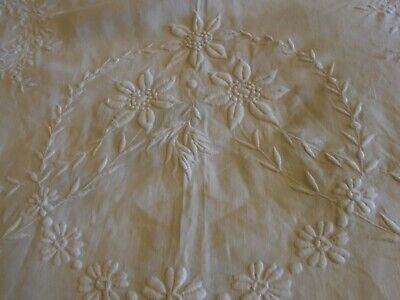 Antique  Hand Embroidered  Irish Linen  Bedcover - 90  X 100 Inches