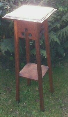 Two Tier Plant Stand Torchere Jardiniere Hall Stool Table Arts & Crafts Vintage