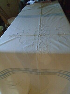 Vintage Mid Century Hand Embroidered Pure Cotton Bedcover - Farmhouse Style