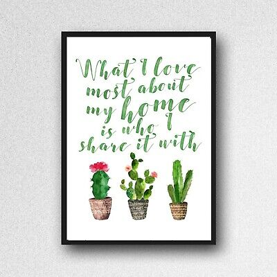 cactus love share home print PICTURE botanical plant A4 unframed wall art gloss
