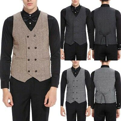 Men New Fashion Formal Dress Suit Vest Business Slim Double breasted Waistcoat