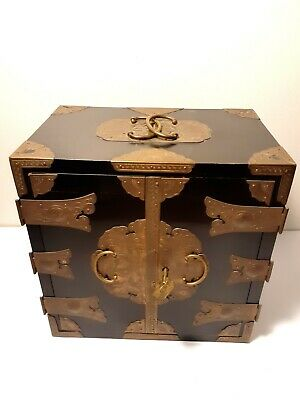 Antique Black Lacquer Wooden Chinese Jewelry Box
