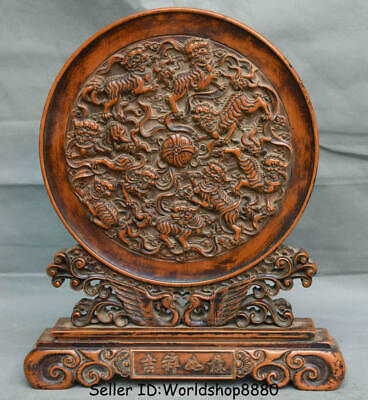 "14"" Old China Dynasty Palace Huanghuali Wood Carved Lion Dog Ball Screen Statue"