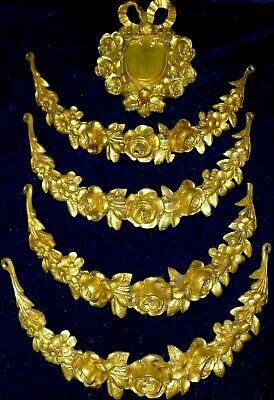 Large French Gilded Brass Decor Pediments Rose Garlands Swags Medallion