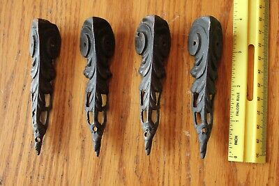 4 Brass Feet foot trunk or jewelry trinket box clock base parts Vintage Antique