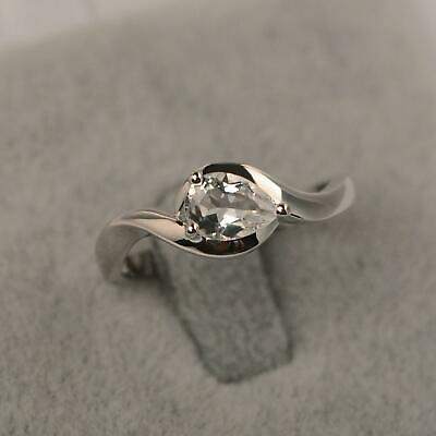 1ct Pear Cut Diamond Engagement Ring Swirl Twist Solitaire 14k White Gold Over