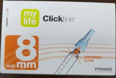 Mylife clickfine 8mm x100 pen needles expiry end of Jan 2020