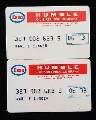 Esso Humble Oil Credit Card expired 1973 ♡Free Shipping♡ cc94 ☆MATCHING PAIR