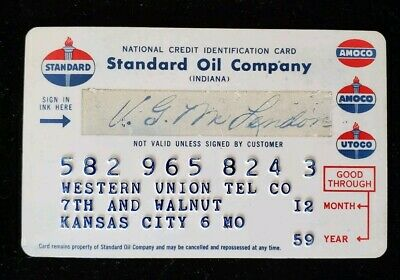 Western Union Standard Oil Credit Card exp 1959 ♡Free Shipping♡cc193