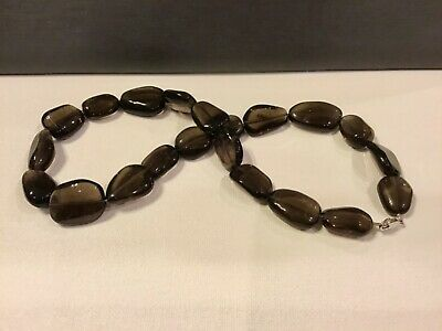 Genuine Natural Smoky Topaz Smooth Tumbled Nugget Bead Necklace 15-24mm