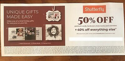 Shutterfly Offers 50% Off Select+40% Everything Else Exp 12/16/19