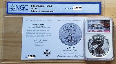 2019-S $1 Enhanced Reverse Proof Silver Eagle NGC Rev/PF 69 ~ Only 30,000 Coins