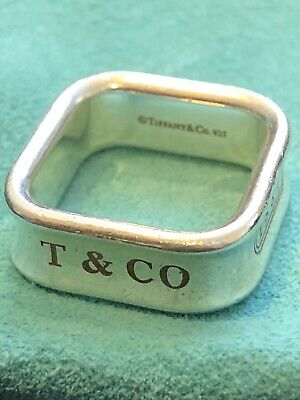 Tiffany & Co. 1837 Sterling Silver Square Wide Band Ring Size 9 9.5 Cushion Box