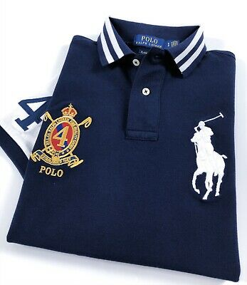 Ralph Lauren Polo Shirt Men's Custom Slim Fit Navy White Colour Block Big Pony