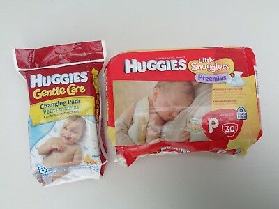 Huggies Gentle Care 8 Disposable Changing Pads~Little Snugglers Preemies Diapers