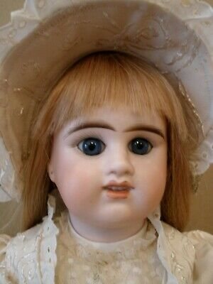 "Antique 19"" French Etienne Denamur bisque socket head doll, perfect"