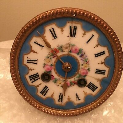 French 8 Day Striking Clock Movement Sevres Blue Porcelain Dial
