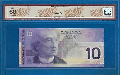 2001 - $10.00 From The Bank Of Canada Graded By Bcs Unc-60 Original