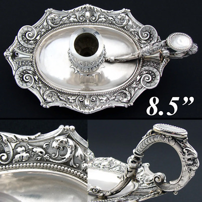 """Antique Continental Silver 8.5"""" Chamberstick, Candle Holder, Figural Mascarons"""