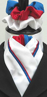 Ready Tied White with Red & Blue Piping Faux Silk Dressage Stock & Scrunchie