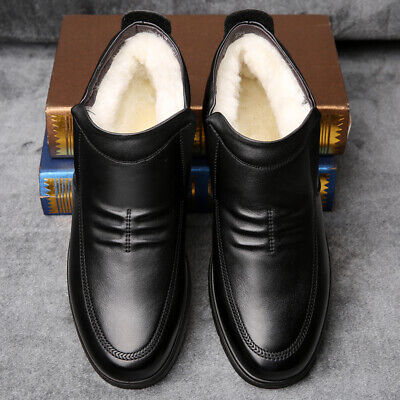 Mens Slip on Snow Fur Inside Warm Non-slip New Winter Business Ankle Boots Shoes
