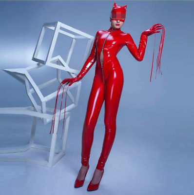 High-end PVC Womens Sexy Bodysuit Cat Bright Leather Jumpsuit Stage Shows Zsell