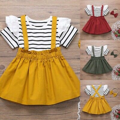Toddler Kids Baby Girl Striped Tops Suspender Skirts Headbands Outfits Clothes U