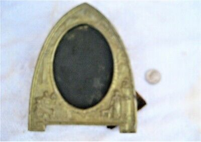 "Antique heavy metal dresser mantle top picture frame w/ornate decor 7-3/8"" dome"