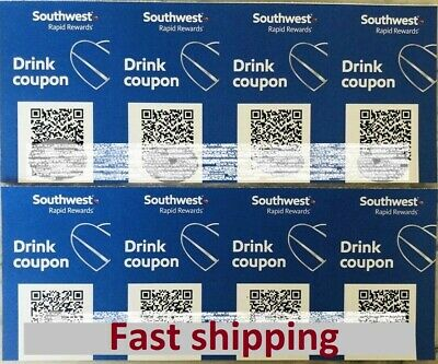 (x8) Southwest Airlines Coupons Drink Beverage Voucher Exp 8/31/2020. Fast Ship