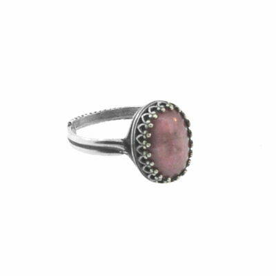 AzureBella Jewelry Pink Rhodonite Ring Antiqued Filigree Setting Adjustable Size