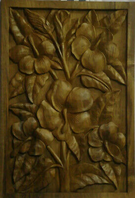 Tropical Hawaiian Teak Wood Carving (Hibiscus)